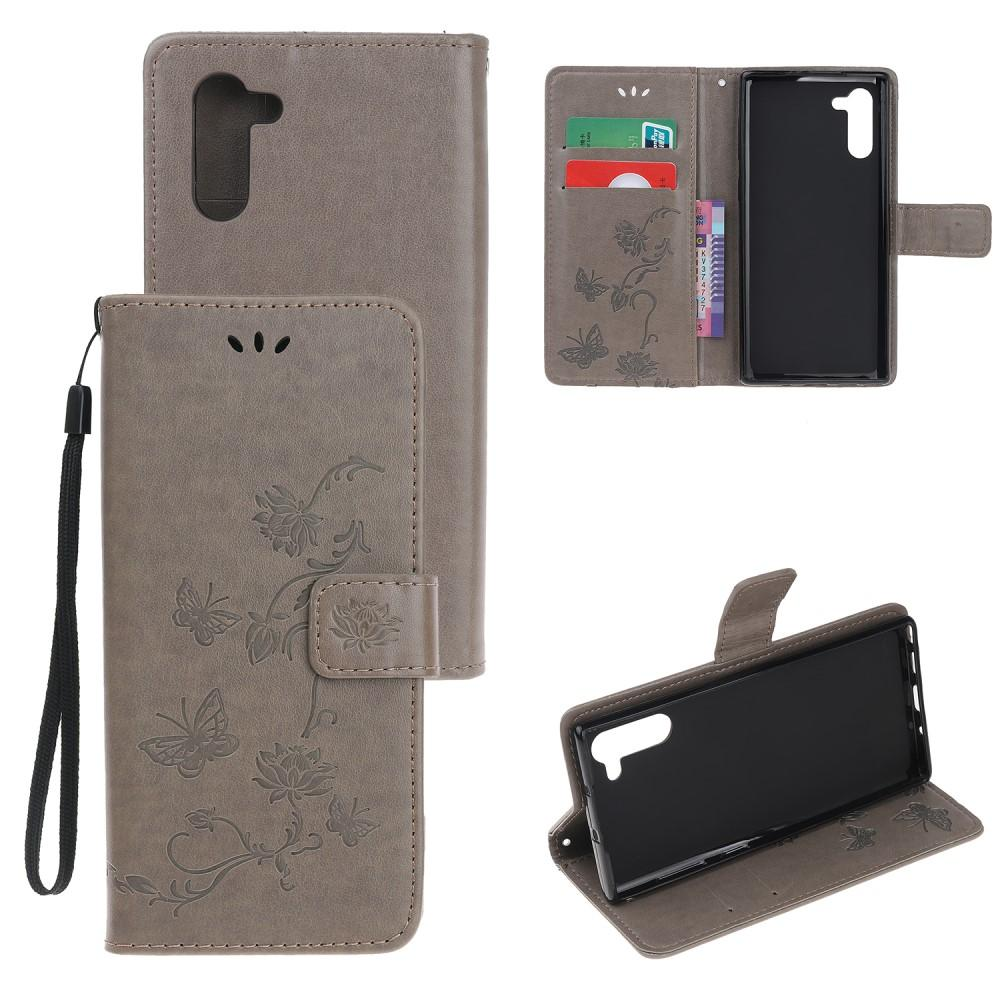 Lærveske Sommerfugler Galaxy Note 10 grå