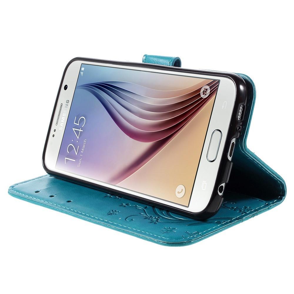 Lærveske Sommerfugler Galaxy S6 blå