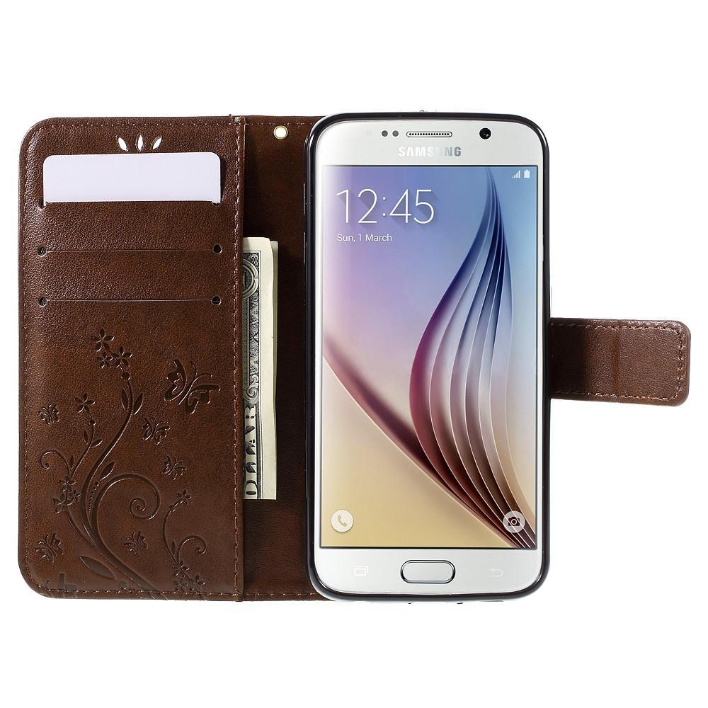Lærveske Sommerfugler Galaxy S6 brun