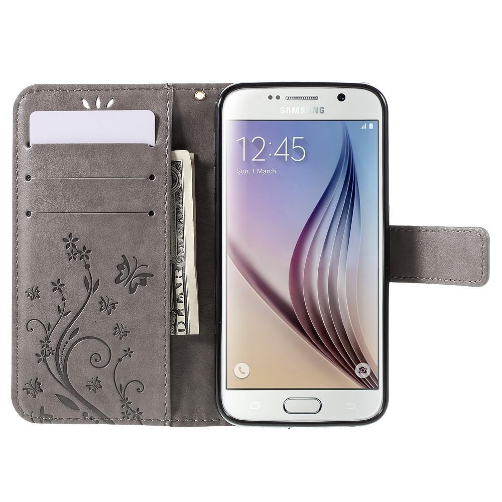 Lærveske Sommerfugler Galaxy S6 grå