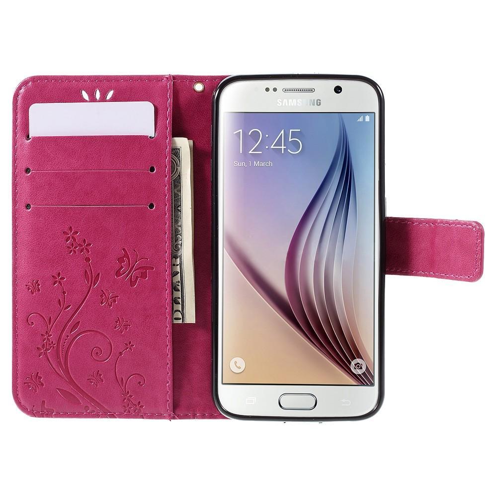 Lærveske Sommerfugler Galaxy S6 rosa