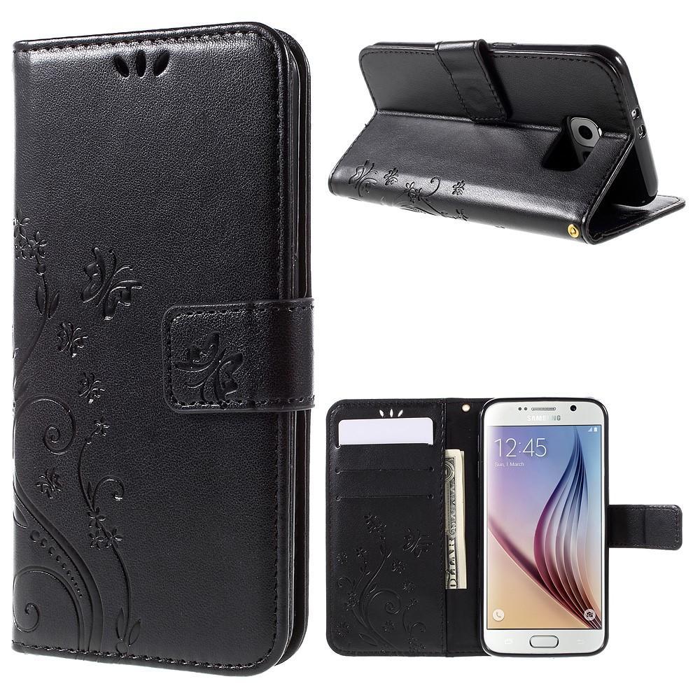 Lærveske Sommerfugler Galaxy S6 svart