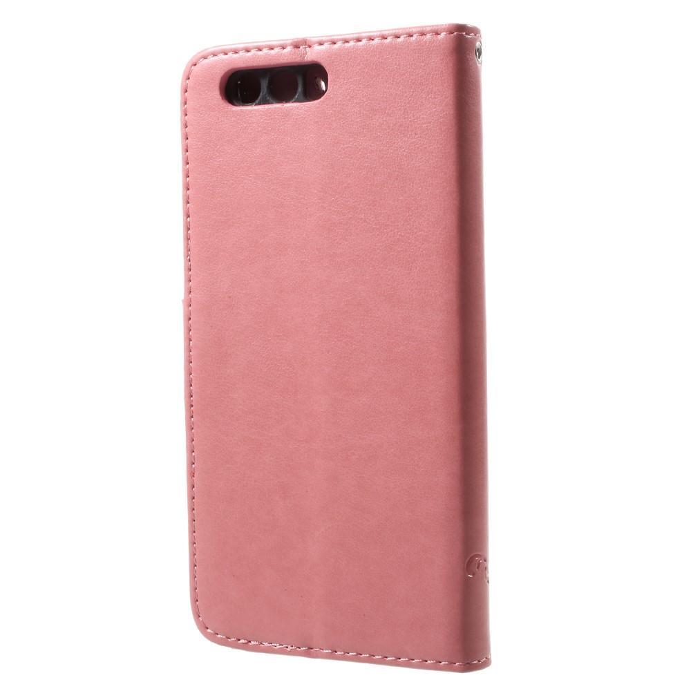 Lærveske Sommerfugler Huawei Honor 9 rosa