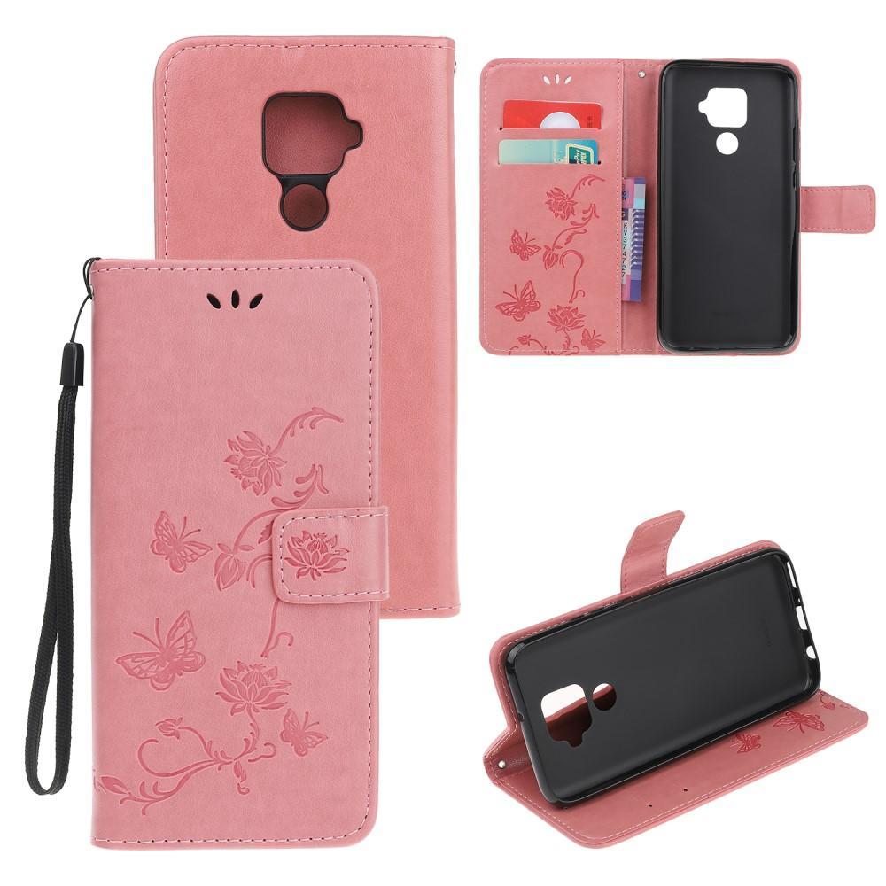 Lærveske Sommerfugler Huawei Mate 30 Lite rosa