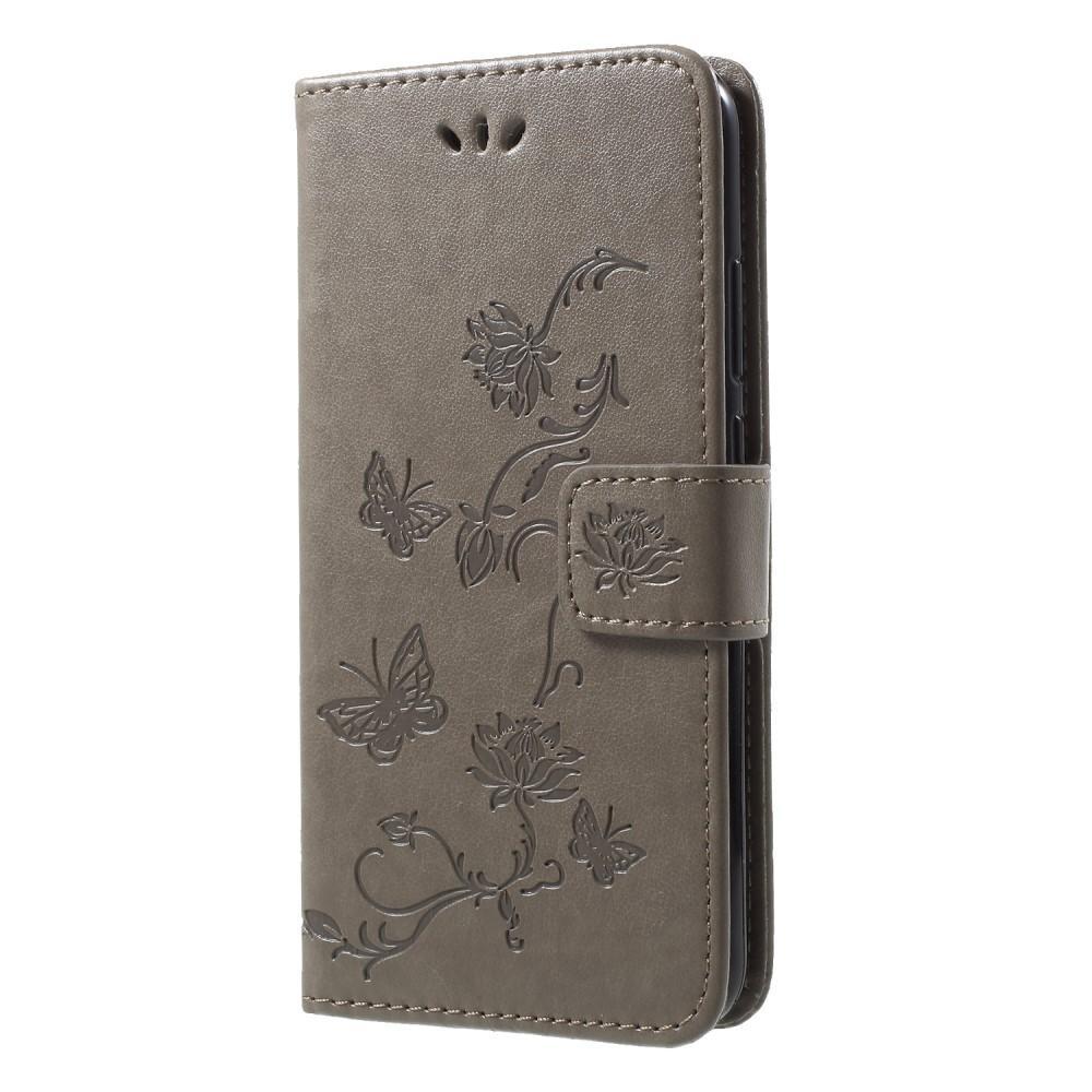 Lærveske Sommerfugler Huawei P20 Lite grå