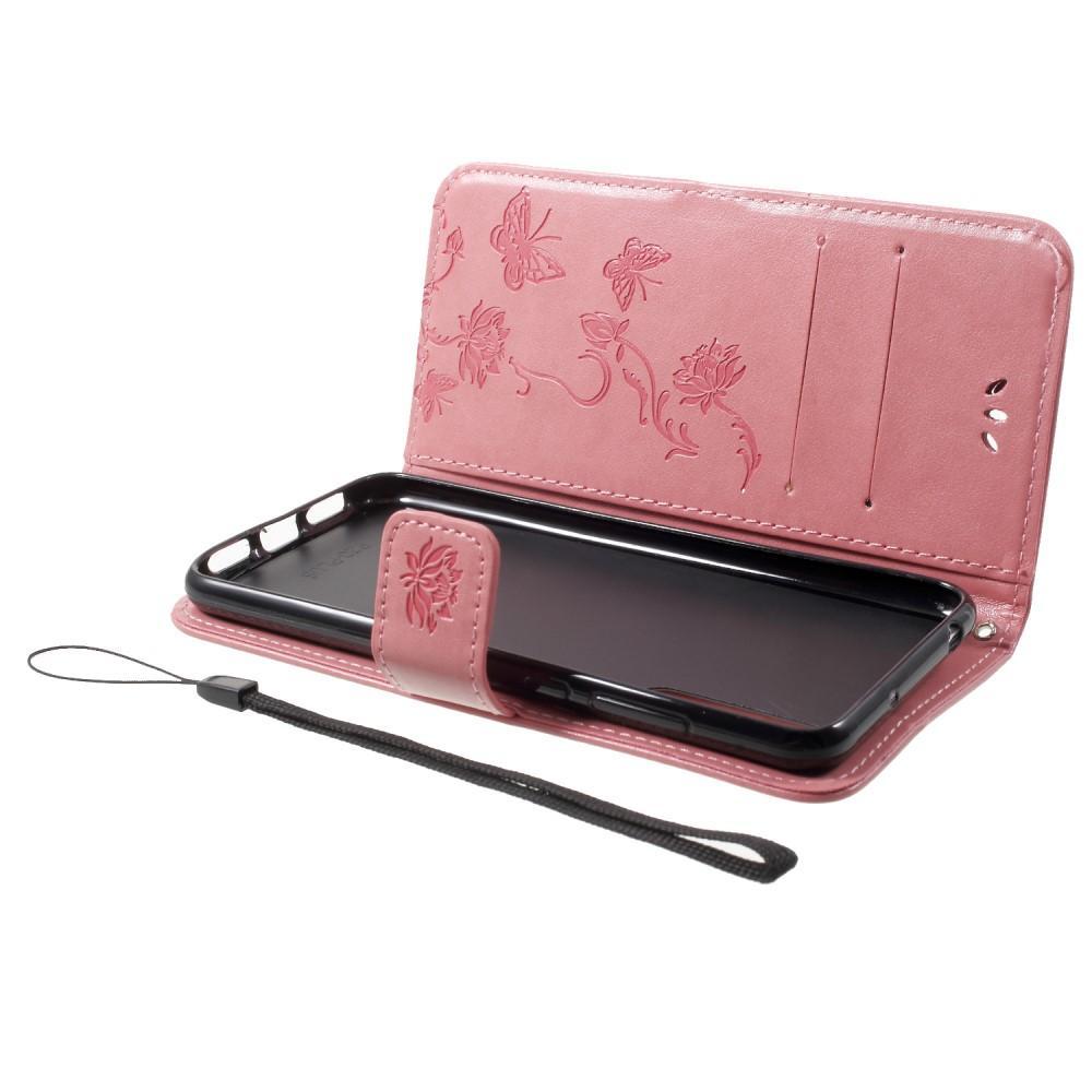 Lærveske Sommerfugler Huawei P20 Pro rosa