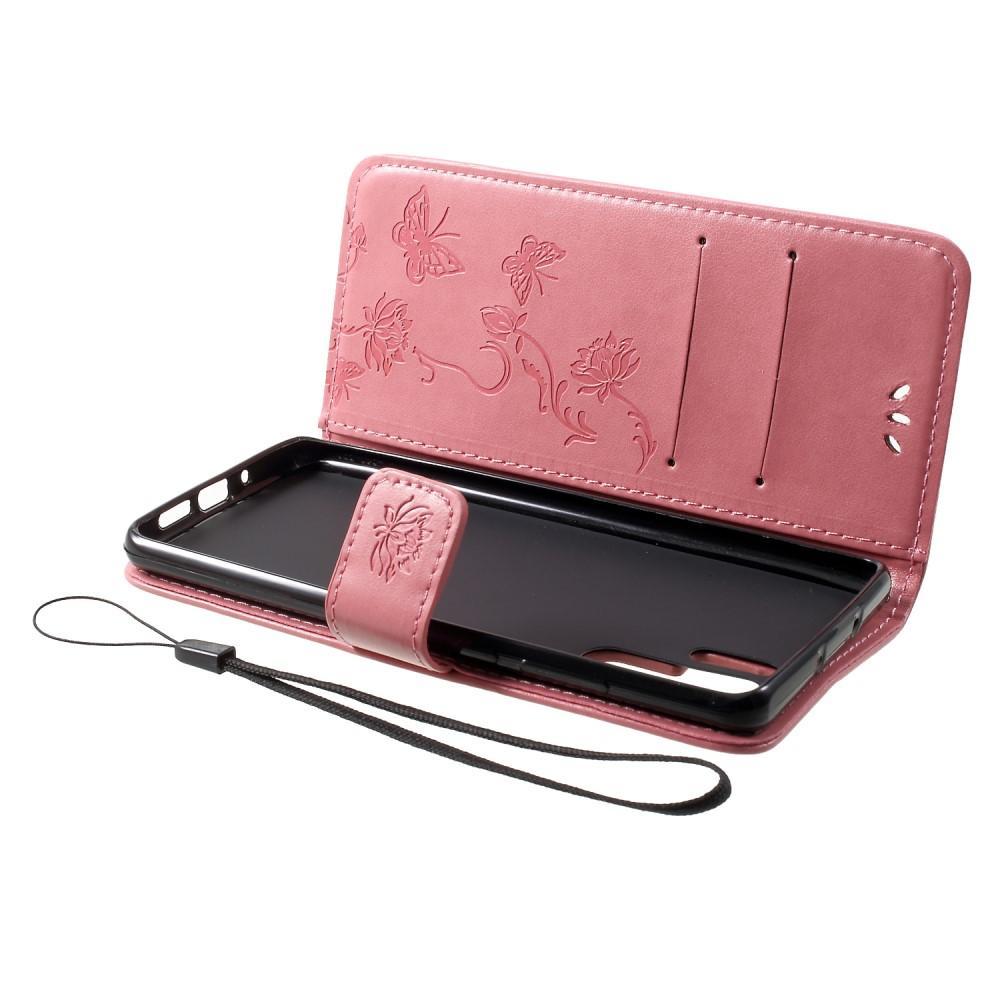 Lærveske Sommerfugler Huawei P30 Pro rosa
