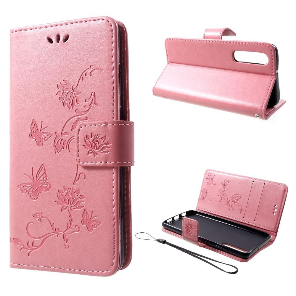 Lærveske Sommerfugler Huawei P30 rosa