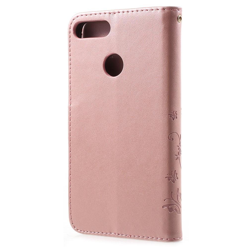 Lærveske Sommerfugler Huawei P Smart rosa gull