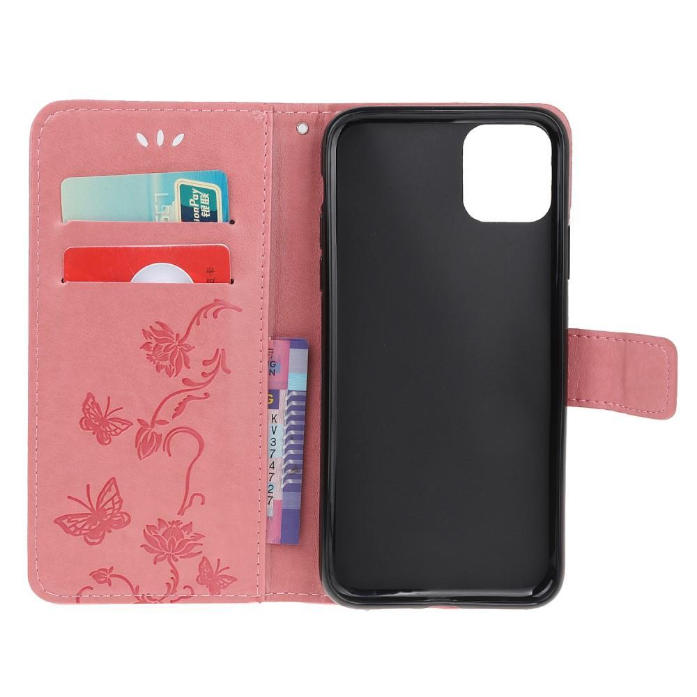 Lærveske Sommerfugler iPhone 11 rosa