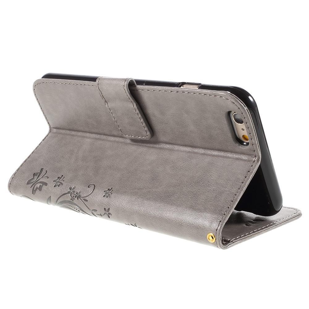 Lærveske Sommerfugler iPhone 6 Plus/6S Plus grå