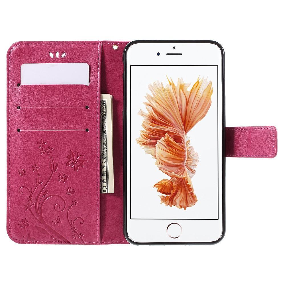 Lærveske Sommerfugler iPhone 6 Plus/6S Plus rosa