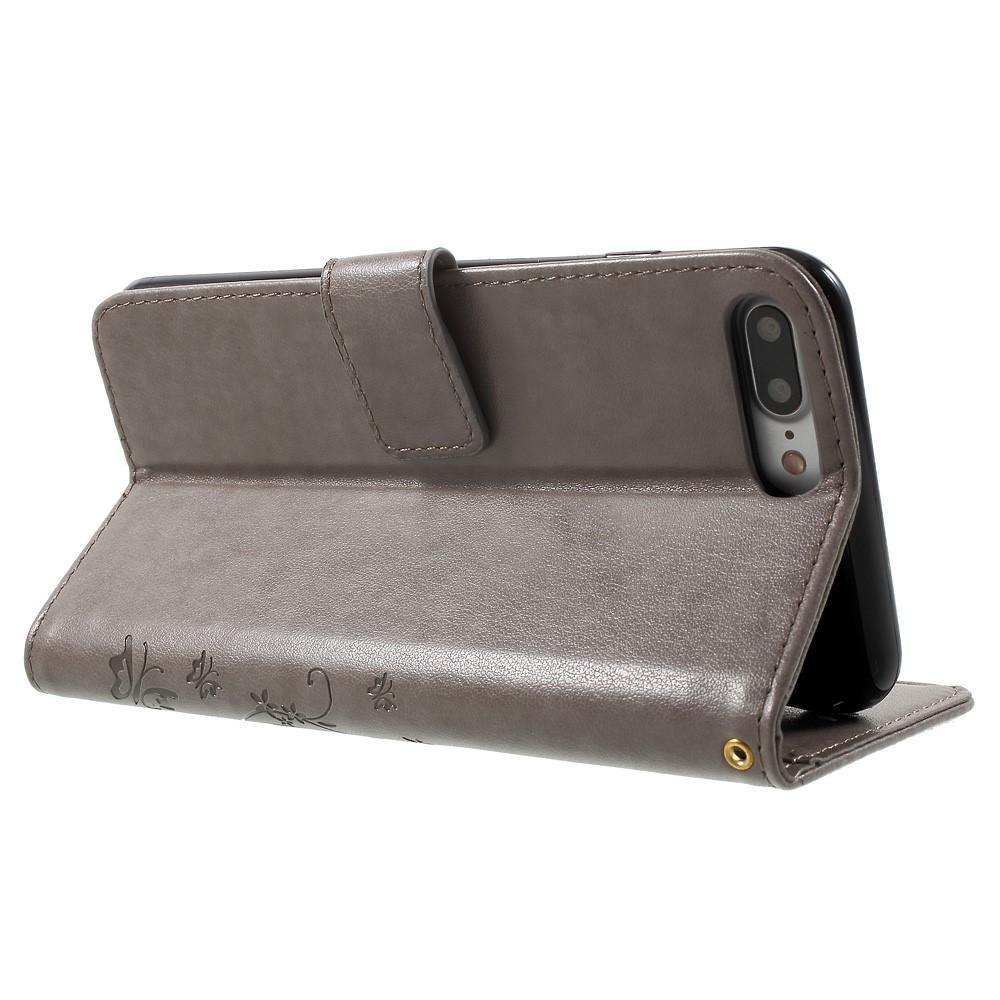 Lærveske Sommerfugler iPhone 7 Plus/8 Plus grå