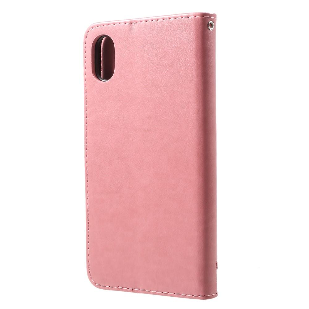 Lærveske Sommerfugler iPhone XR rosa