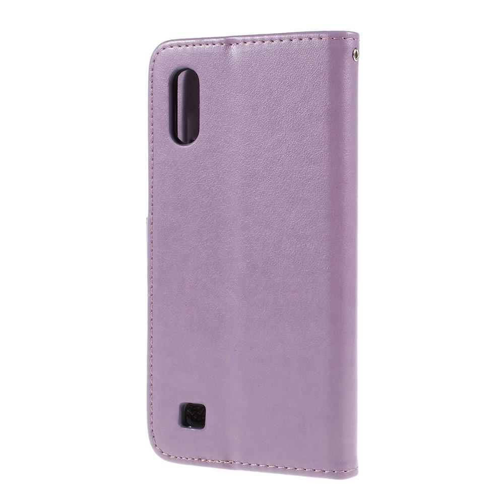 Lærveske Sommerfugler Samsung Galaxy A10 lilla