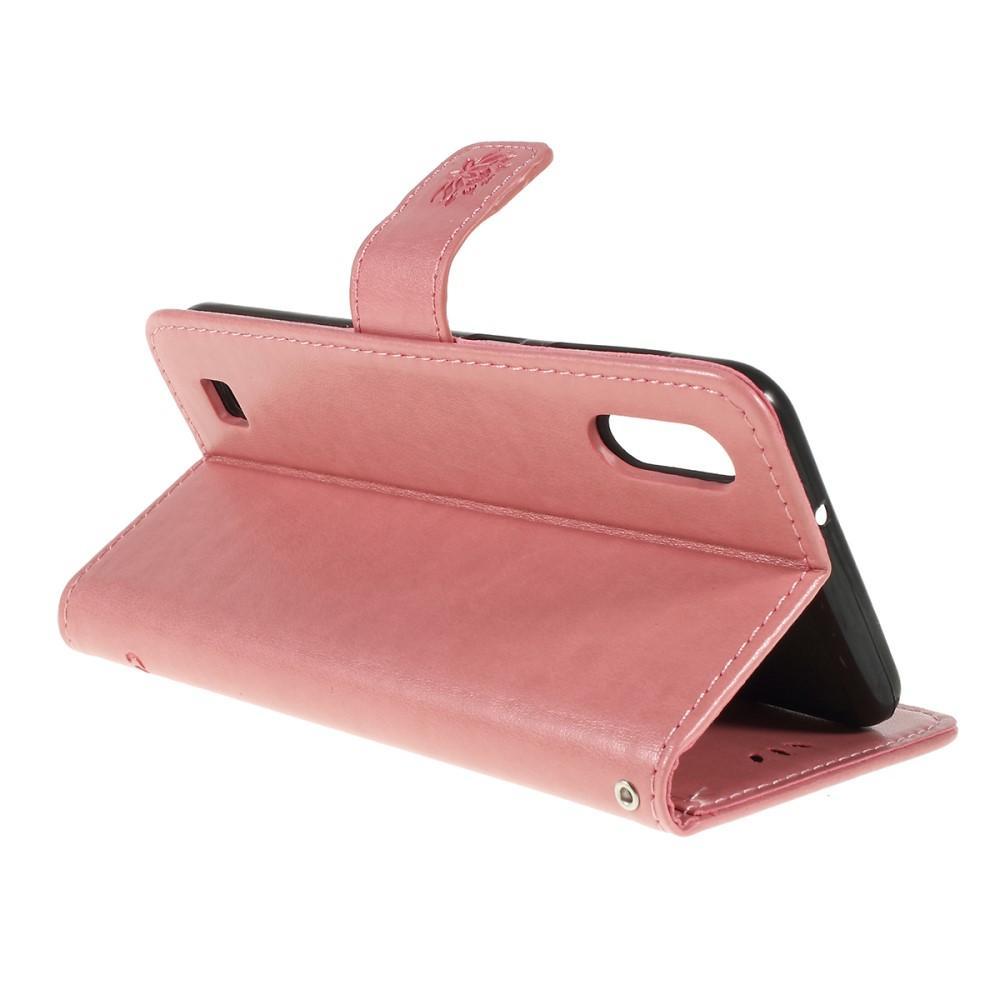 Lærveske Sommerfugler Samsung Galaxy A10 rosa
