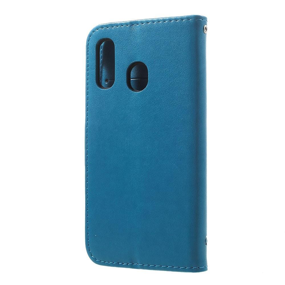 Lærveske Sommerfugler Samsung Galaxy A20e blå