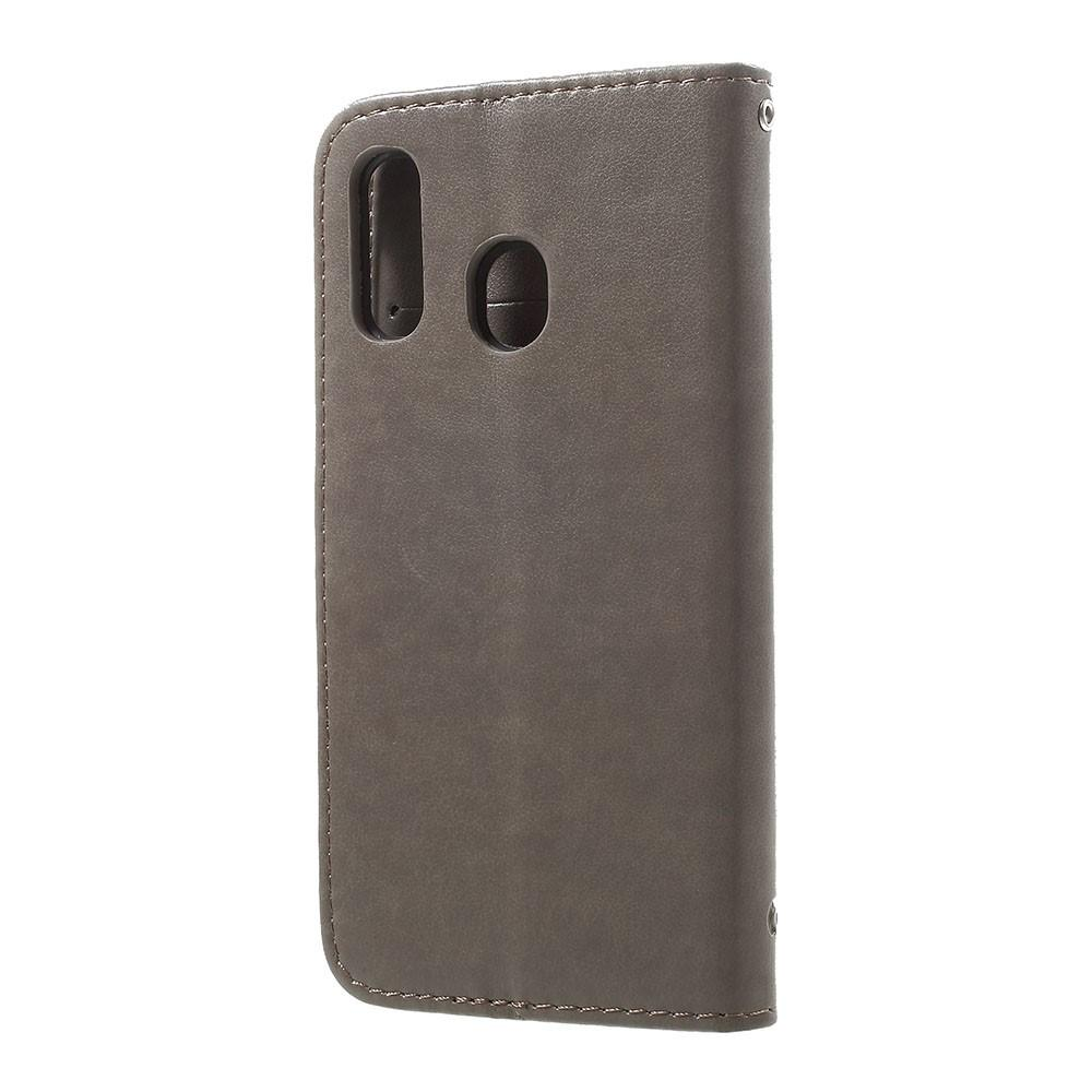 Lærveske Sommerfugler Samsung Galaxy A20e grå