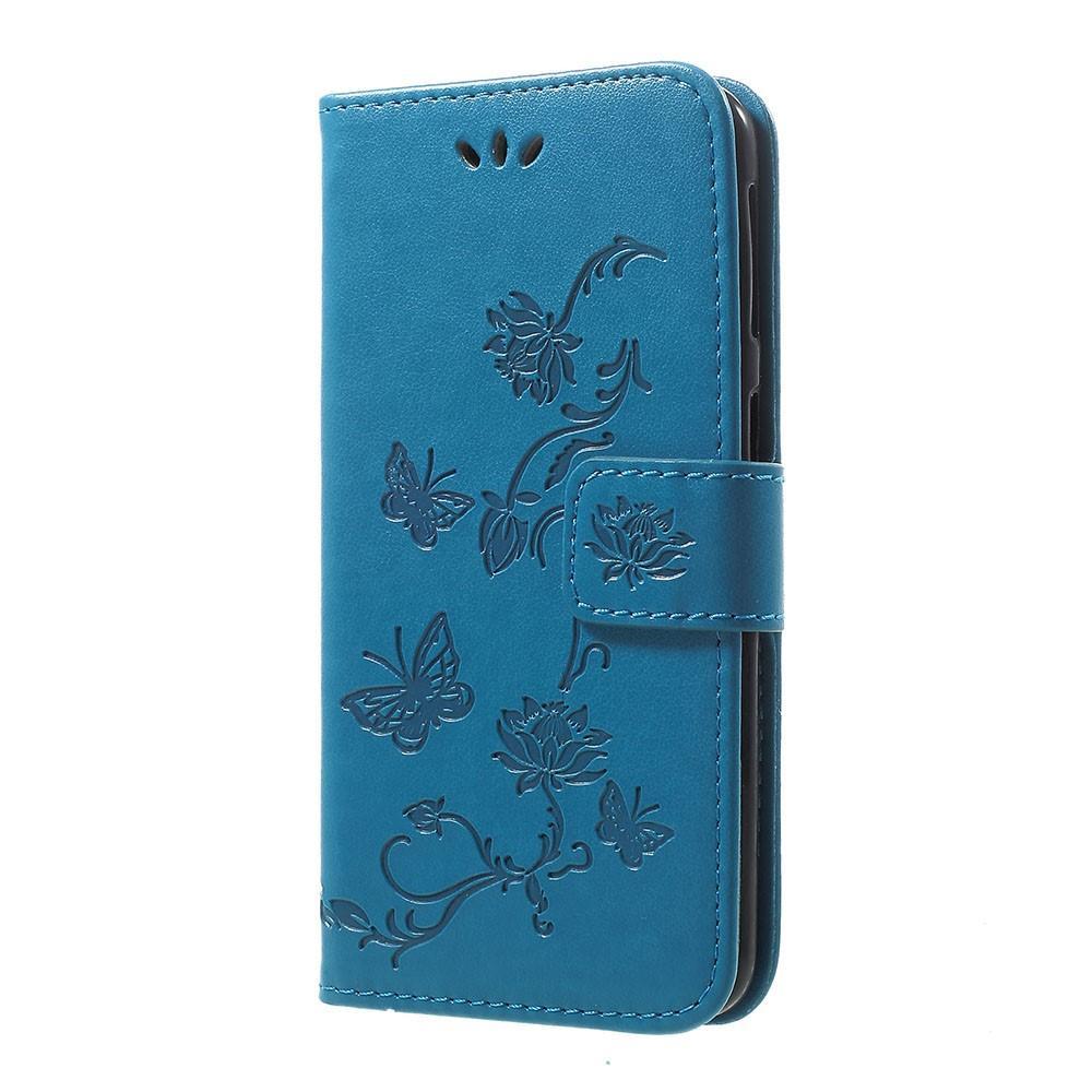 Lærveske Sommerfugler Samsung Galaxy A40 blå