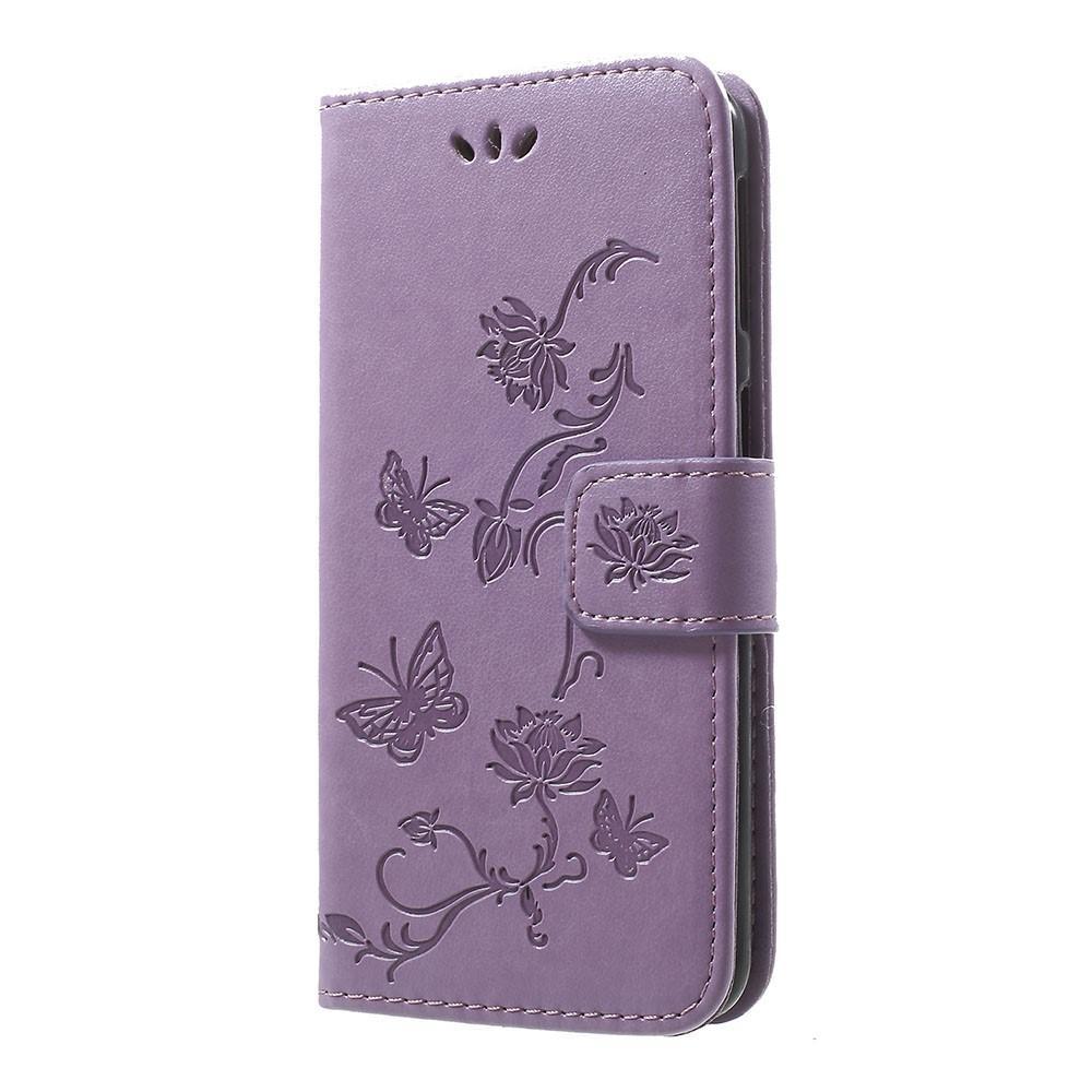 Lærveske Sommerfugler Samsung Galaxy A40 lilla