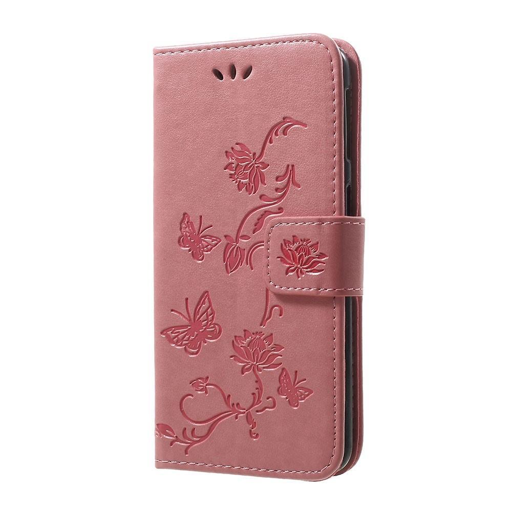 Lærveske Sommerfugler Samsung Galaxy A40 rosa