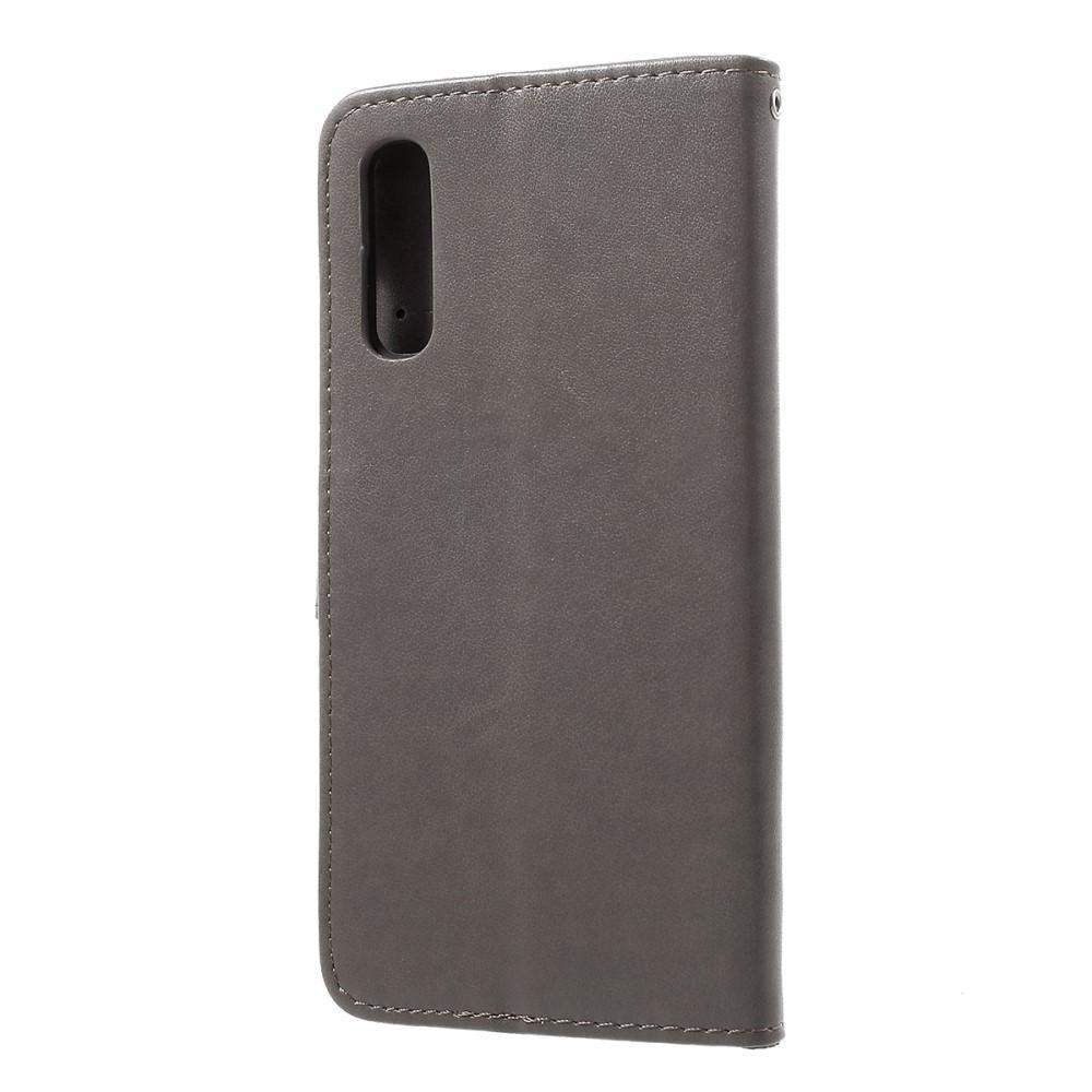 Lærveske Sommerfugler Samsung Galaxy A50 grå