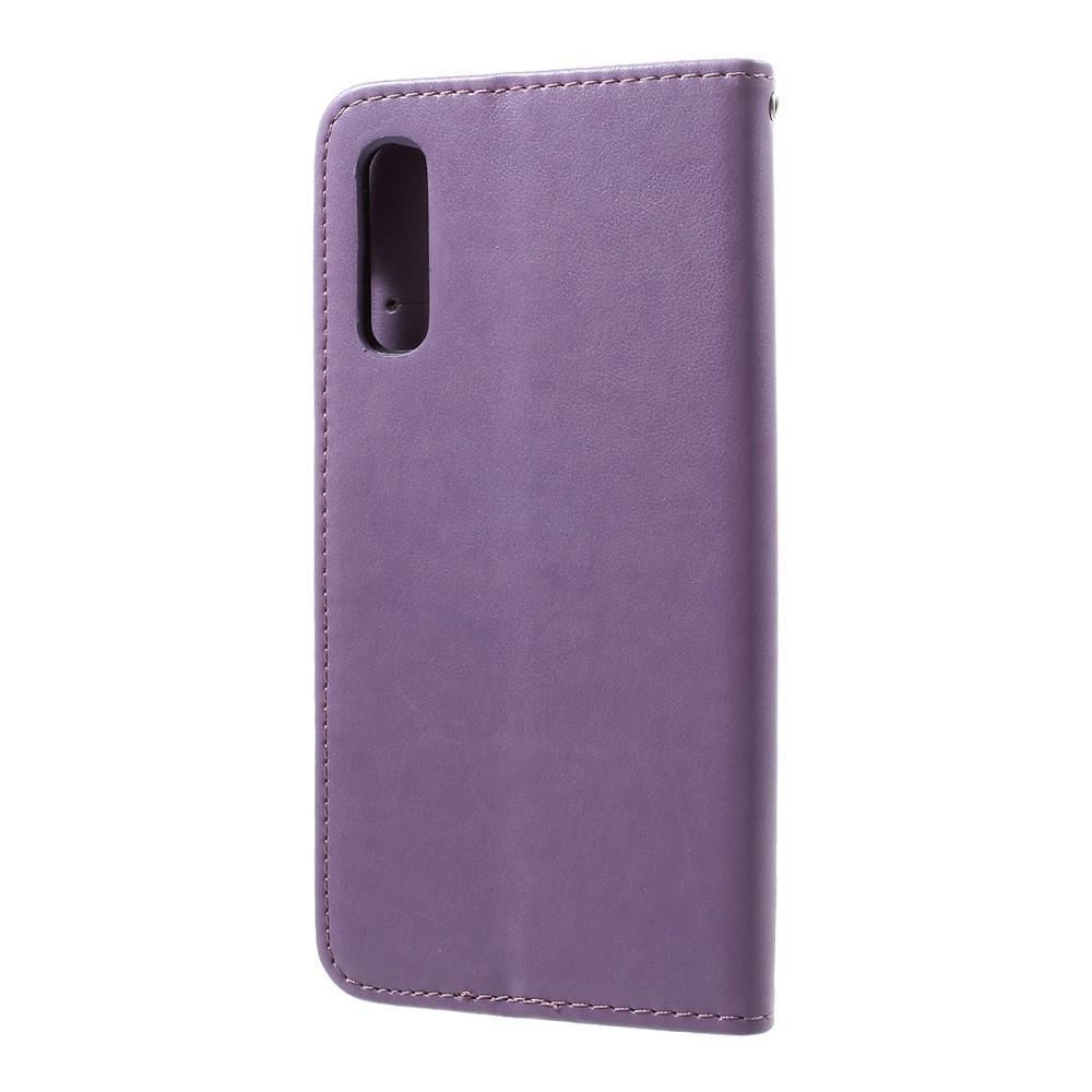 Lærveske Sommerfugler Samsung Galaxy A50 lilla