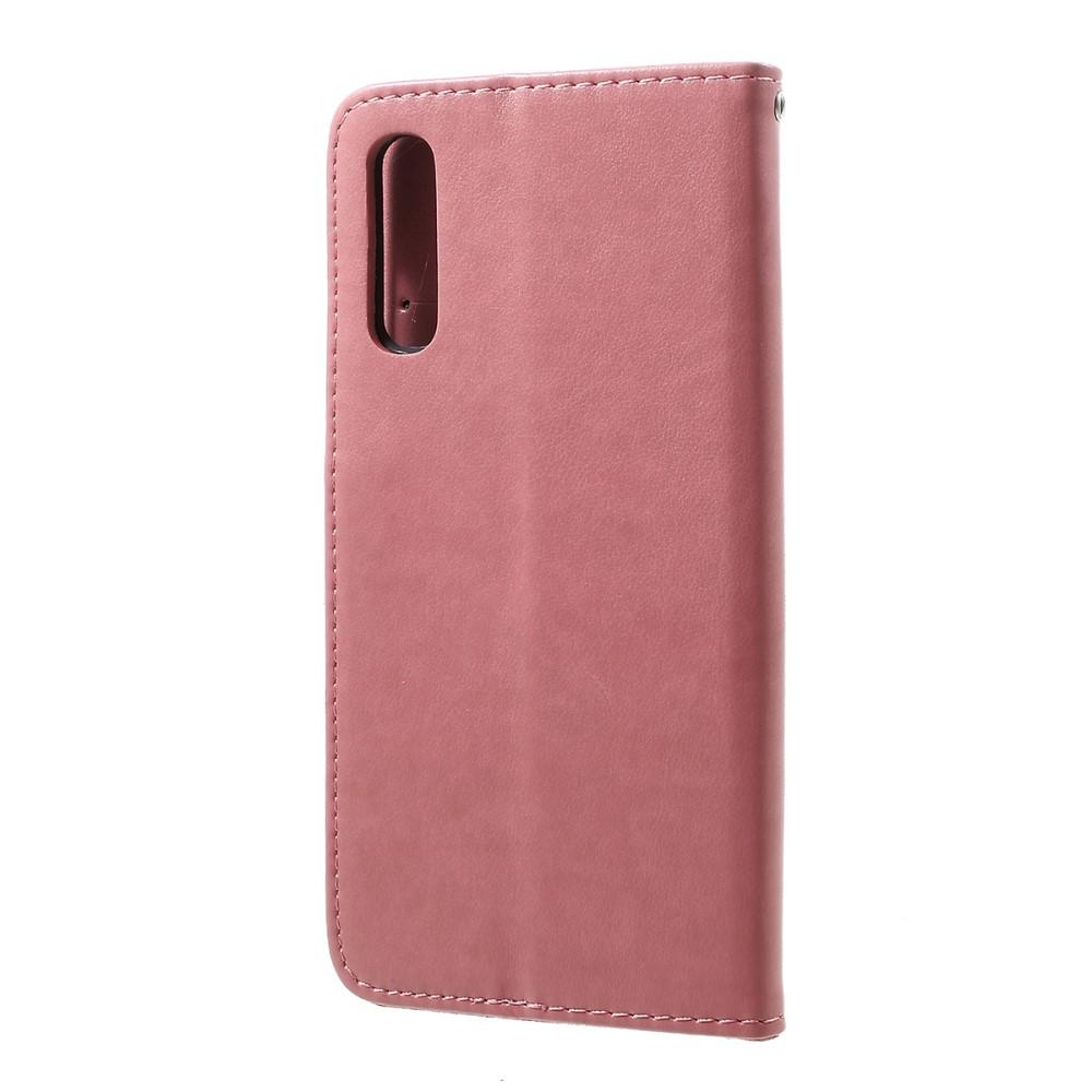 Lærveske Sommerfugler Samsung Galaxy A50 rosa