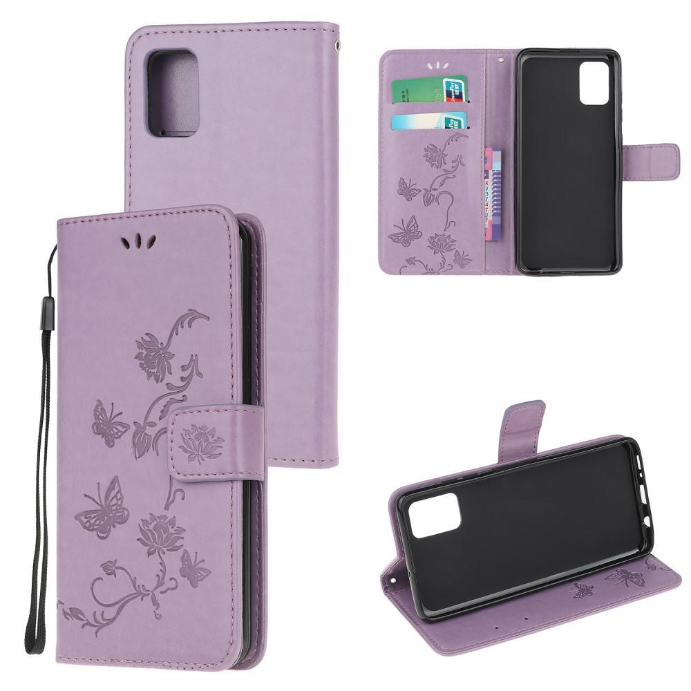Lærveske Sommerfugler Samsung Galaxy A51 lila