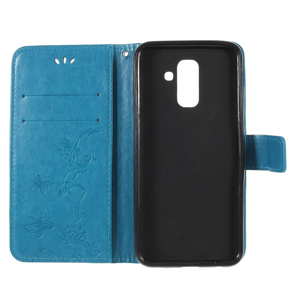 Lærveske Sommerfugler Samsung Galaxy A6 2018 blå