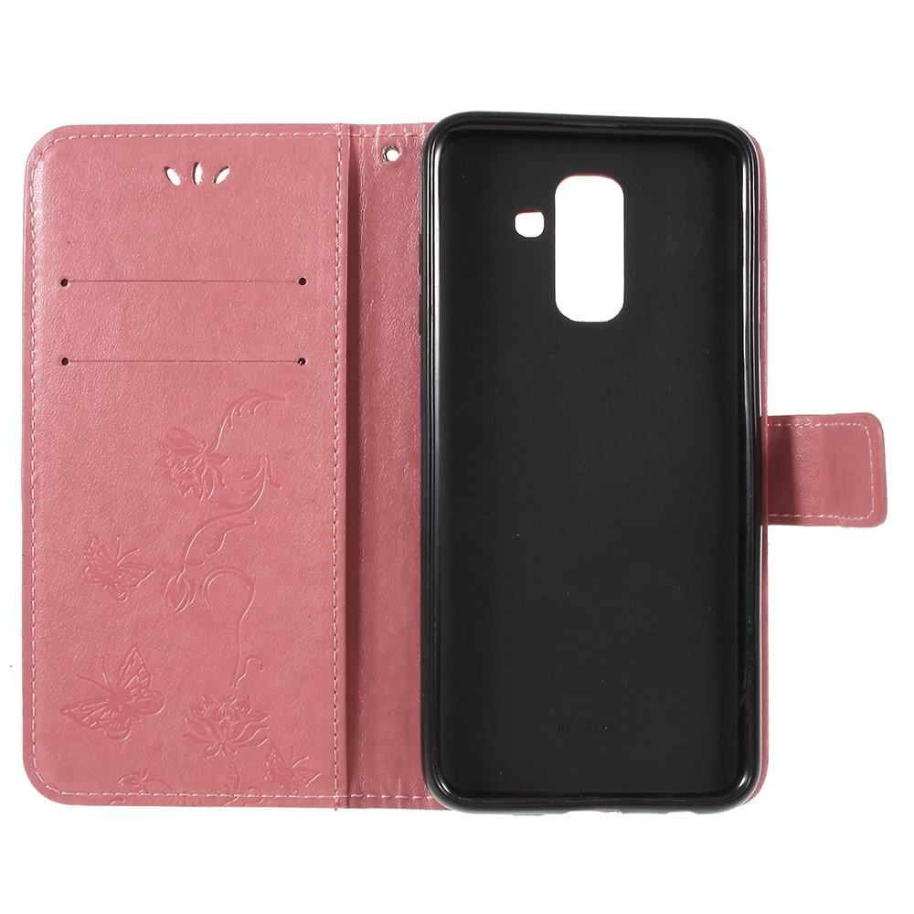 Lærveske Sommerfugler Samsung Galaxy A6 2018 rosa