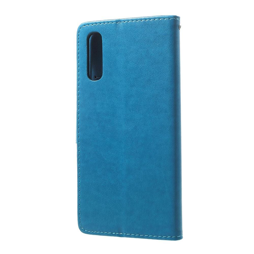 Lærveske Sommerfugler Samsung Galaxy A70 blå