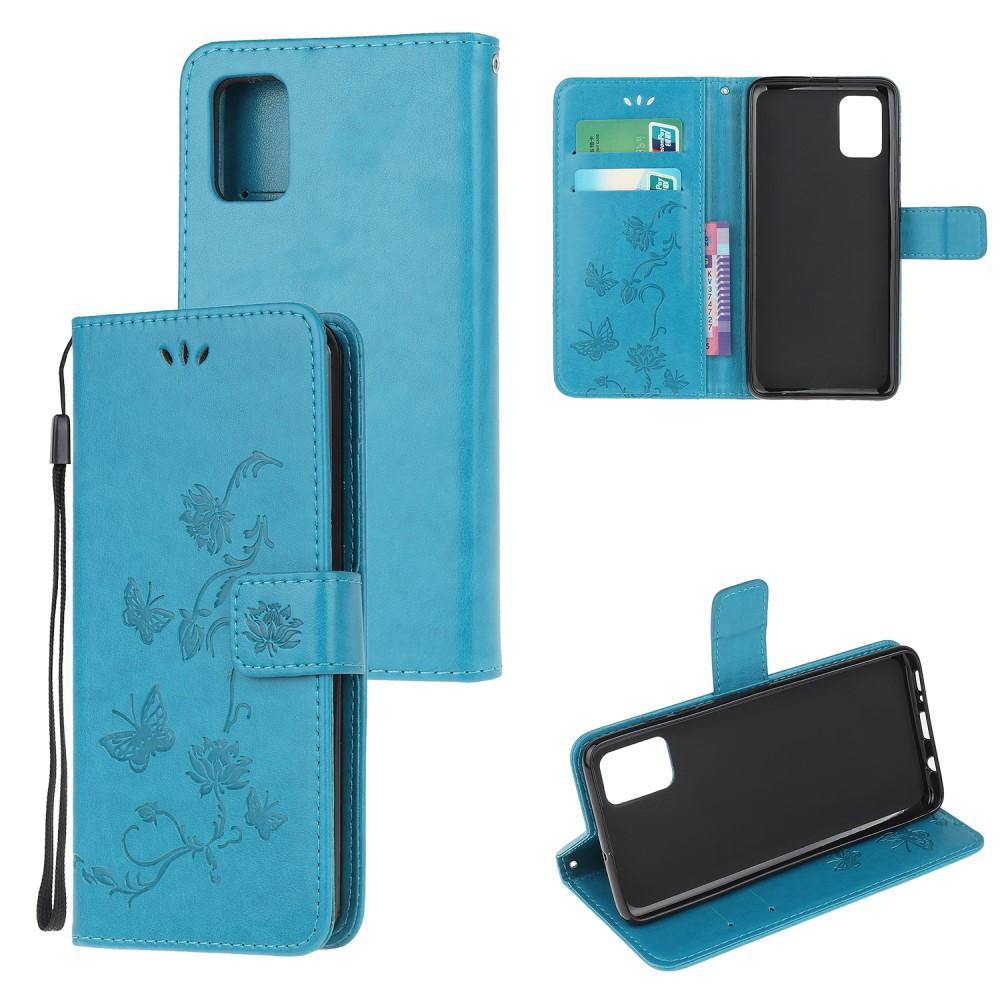 Lærveske Sommerfugler Samsung Galaxy A71 blå