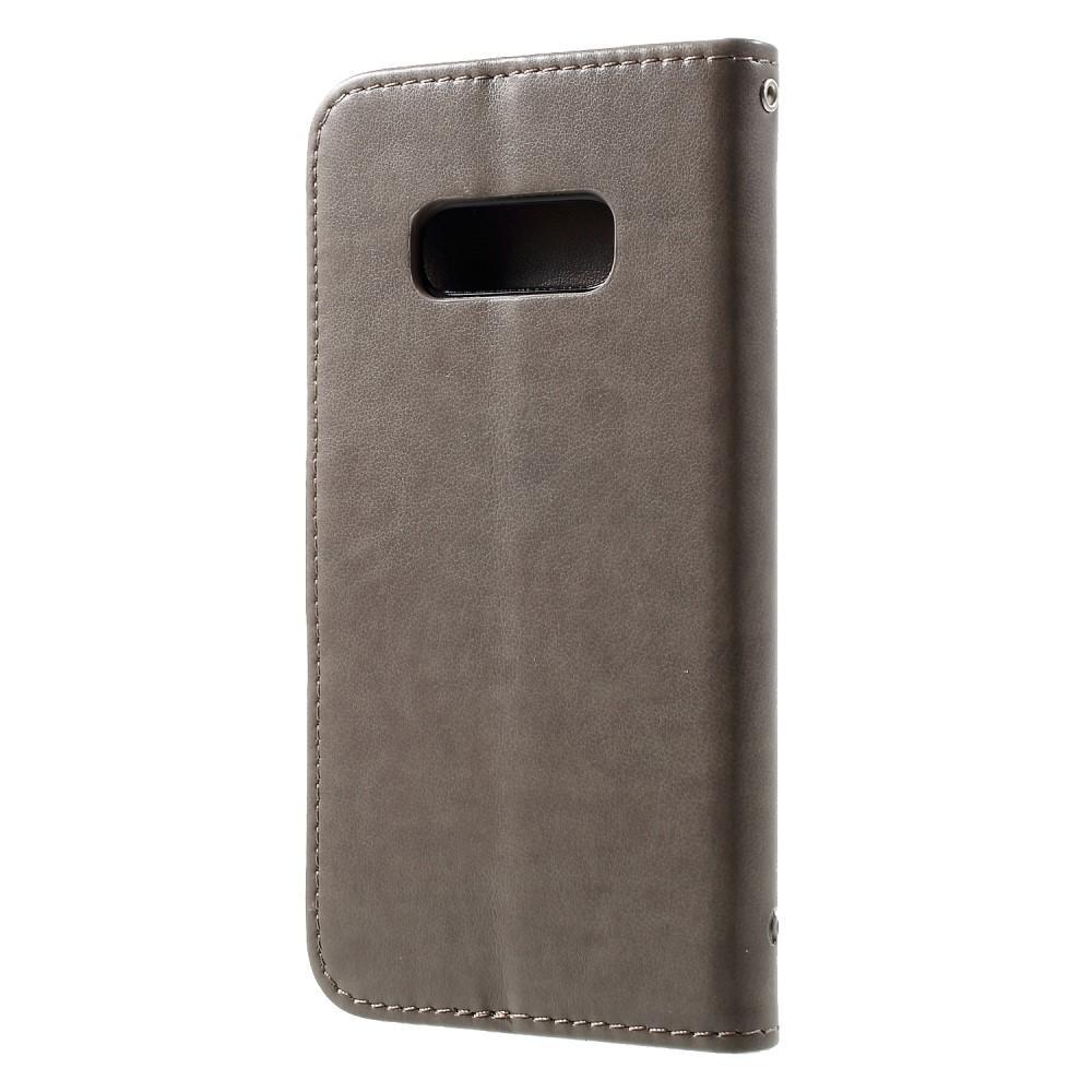 Lærveske Sommerfugler Samsung Galaxy S10e grå