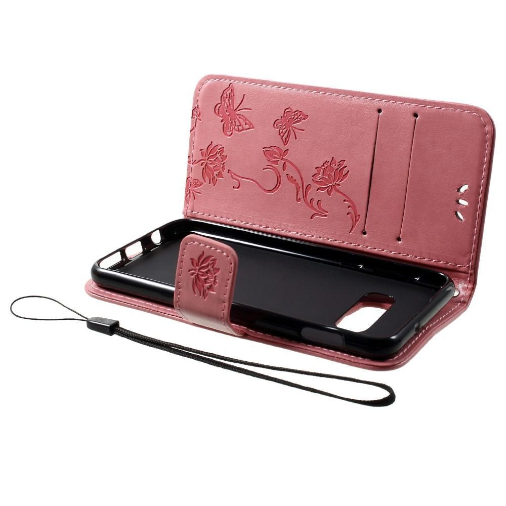 Lærveske Sommerfugler Samsung Galaxy S10e rosa