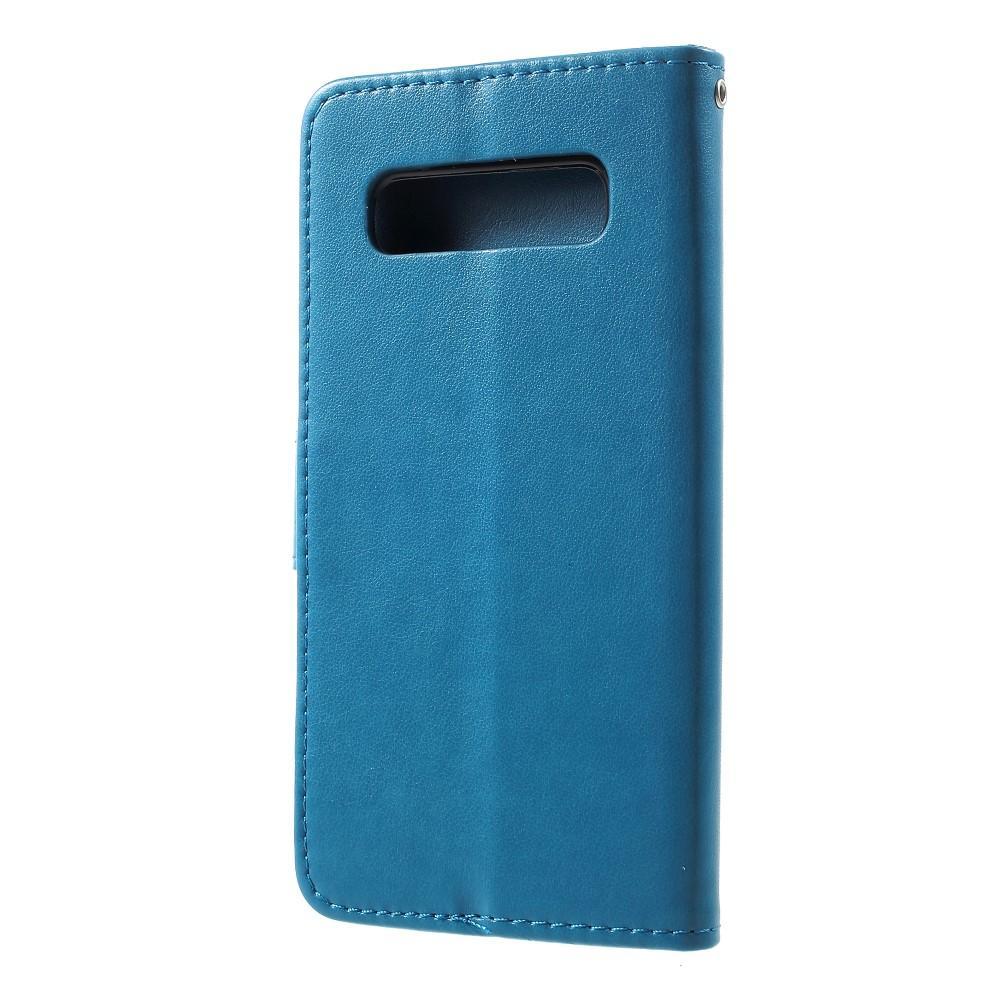 Lærveske Sommerfugler Samsung Galaxy S10 Plus blå