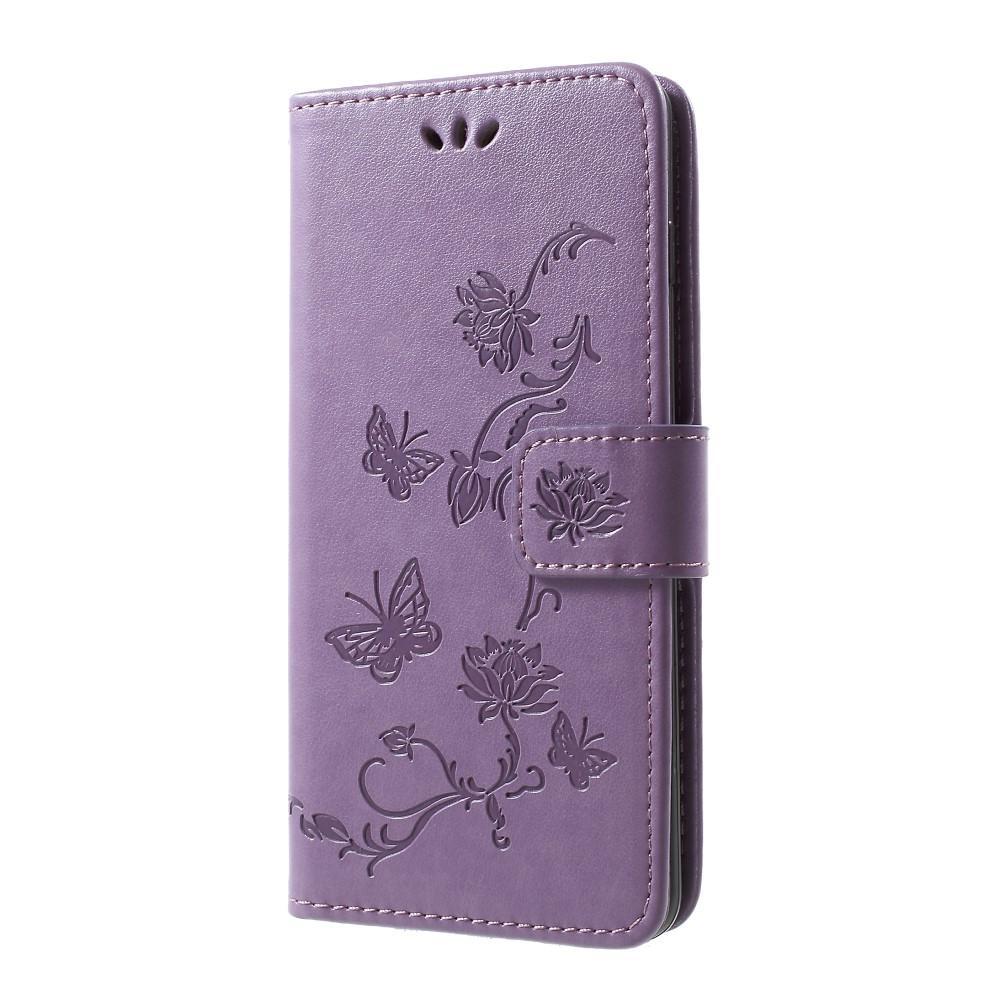 Lærveske Sommerfugler Samsung Galaxy S10 Plus lilla