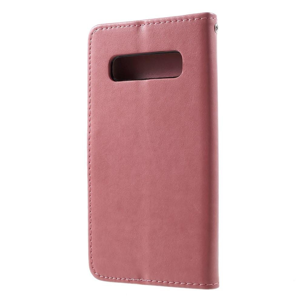 Lærveske Sommerfugler Samsung Galaxy S10 Plus rosa