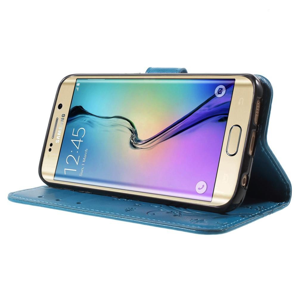 Lærveske Sommerfugler Samsung Galaxy S6 Edge blå
