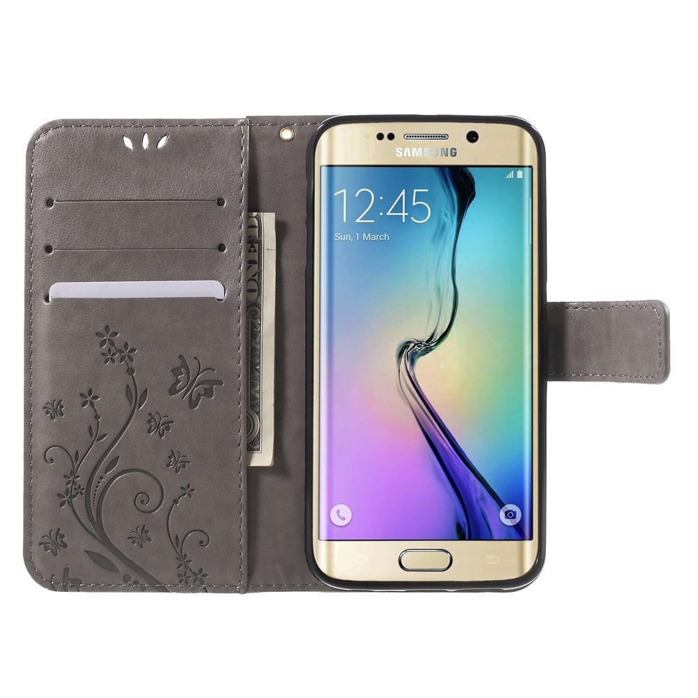 Lærveske Sommerfugler Samsung Galaxy S6 Edge grå