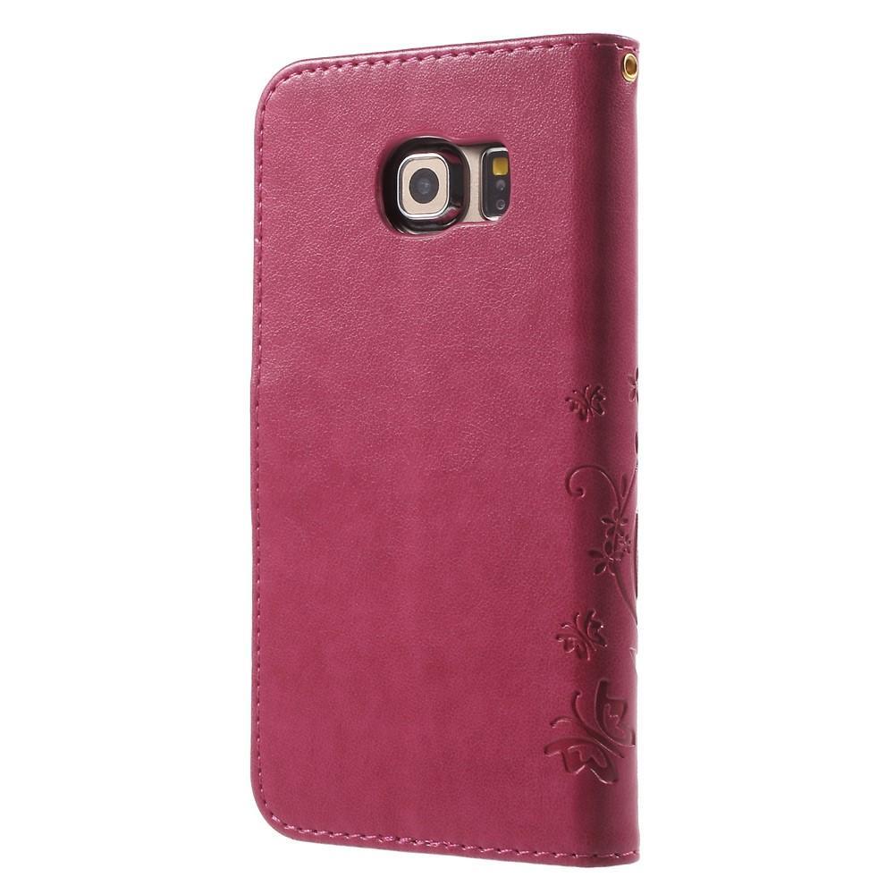 Lærveske Sommerfugler Samsung Galaxy S6 Edge rosa