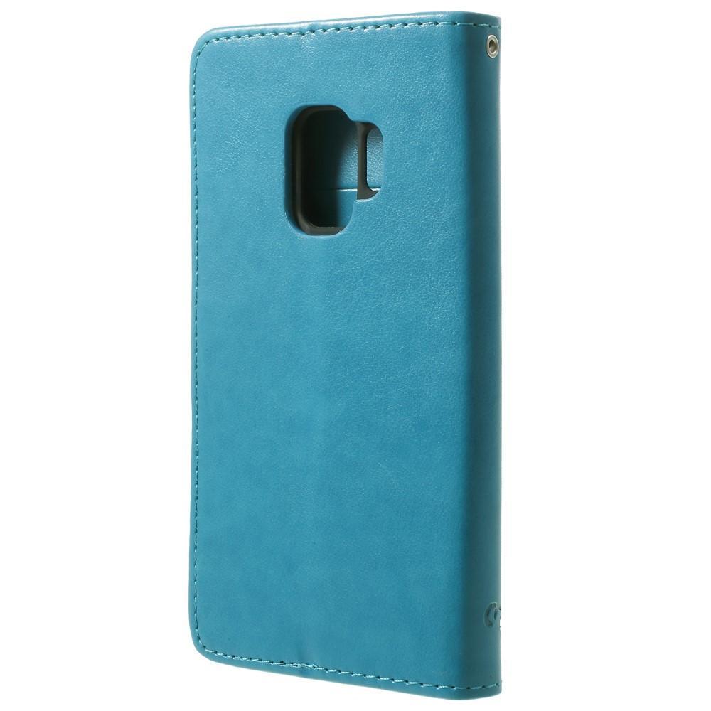 Lærveske Sommerfugler Samsung Galaxy S9 blå