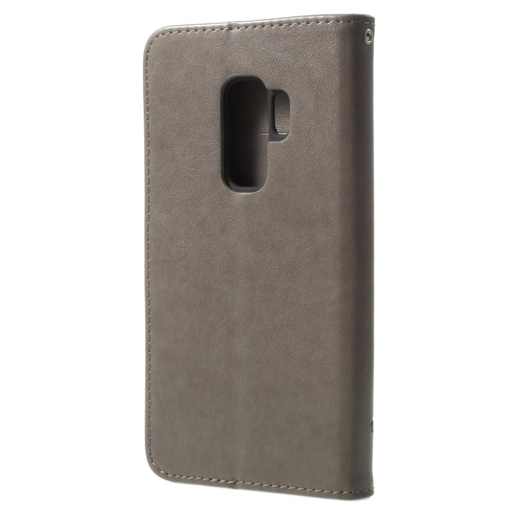 Lærveske Sommerfugler Samsung Galaxy S9 Plus grå