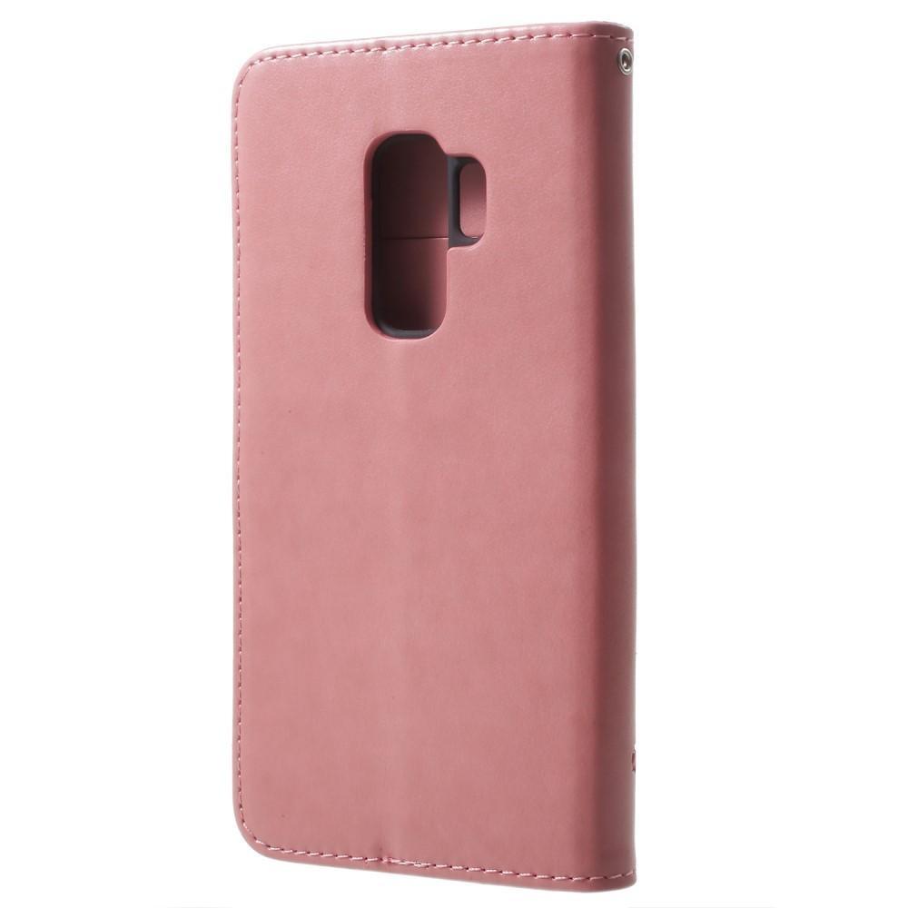 Lærveske Sommerfugler Samsung Galaxy S9 Plus rosa