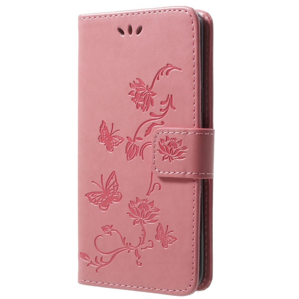 Lærveske Sommerfugler Samsung Galaxy S9 rosa