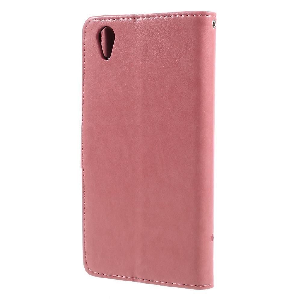 Lærveske Sommerfugler Sony Xperia L1 rosa