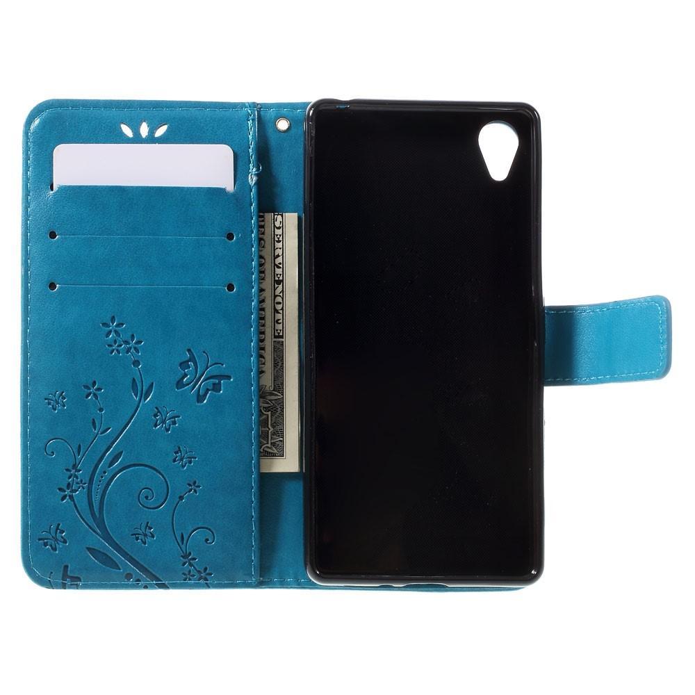 Lærveske Sommerfugler Sony Xperia X blå
