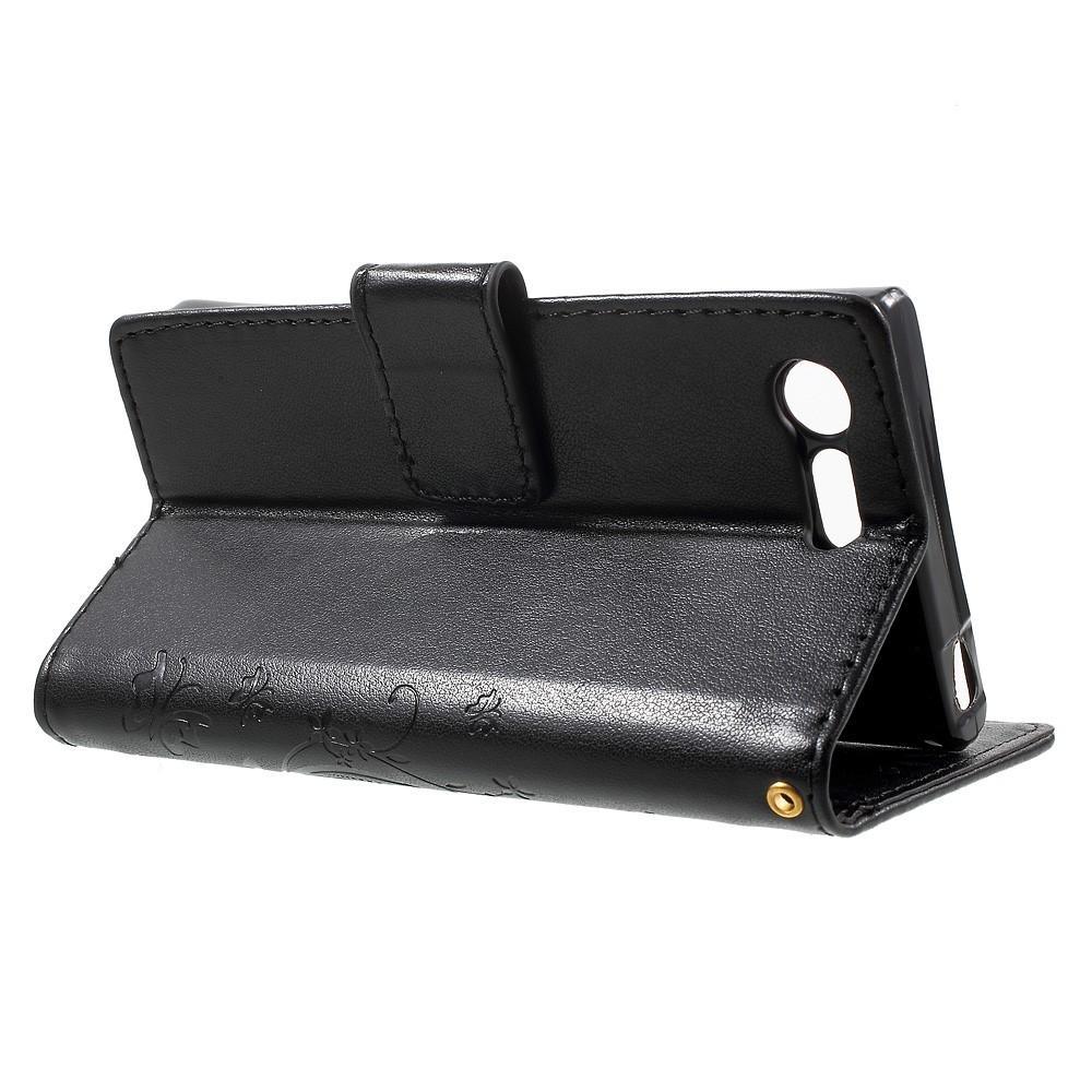 Lærveske Sommerfugler Sony Xperia X Compact svart