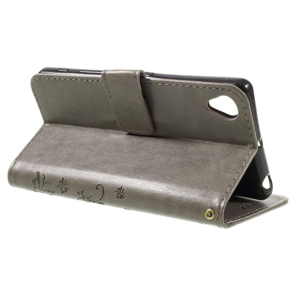 Lærveske Sommerfugler Sony Xperia X grå