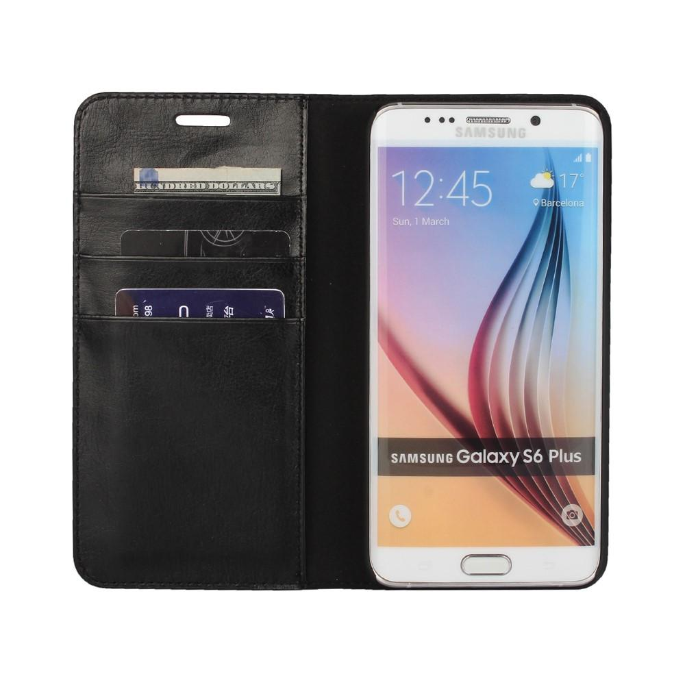 Mobiletui Ekte Lær Samsung Galaxy S6 Edge Plus svart